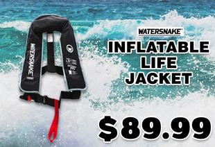 Watersnake PFD Inflatable Life Jacket 150N Adult Black