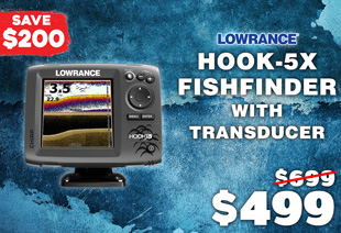 Lowrance HOOK-5x CHIRP Fishfinder with Mid/High/DownScan Transducer