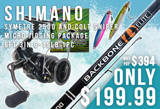 Shimano Symetre 2500 and Colt Sniper Micro Jigging Package 6ft 3in 6-15lb 1pc