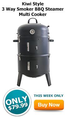 Kiwi Style 3 Way Smoker BBQ Steamer Multi Cooker