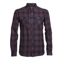 Icebreaker Mens Merino Lodge Long Sleeve Flannel Shirt Redwood/Stealth/Black