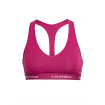 Icebreaker Womens Merino Sprite Racerback Bra Pop Pink/White