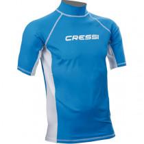 Cressi High-Stretch Mens Short Sleeve Rash Top Blue S