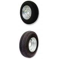 Trojan Galvanised 5 Stud 4.5in PCD Trailer Wheel Rim with Tyre