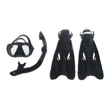 Mirage Rayzor Adult Mask Snorkel and Fins Set Black