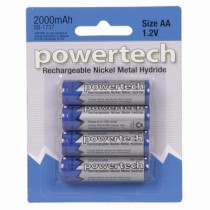 Powertech AA Rechargeable Ni-MH Battery 2000mAh 4-Pack