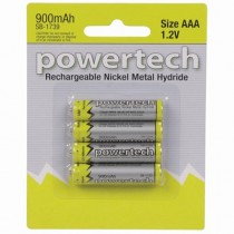 Powertech AA Rechargeable Ni-MH Battery 900mAh 4-Pack